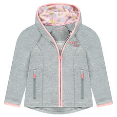 Zipped cardigan in elastane polyester with a printed hood lining