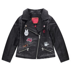 Imitation leather biker jacket with badges and a pink satin lining