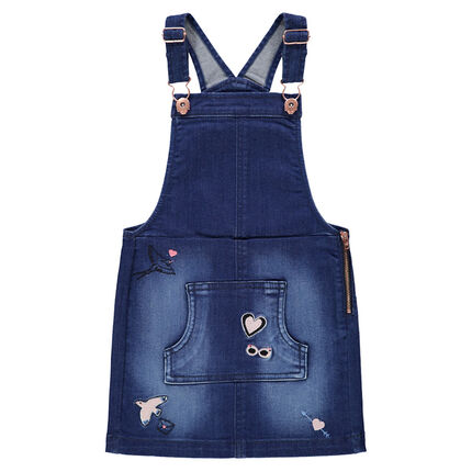 Used-effect denim overall dress with embroidered motifs