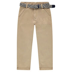 Junior - 7/8 twill pants with a removable braided belt