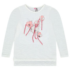 Long-sleeved tee-shirt with embroidered flowers