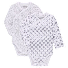 Set of 2 long-sleeved jersey bodysuits with allover prints