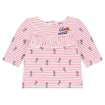 Frilled striped tee-shirt with an allover print