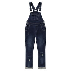 Junior - Denim overalls with worn details and pockets