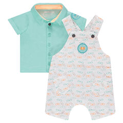 Ensemble with a polo shirt and short overalls with allover printed glasses