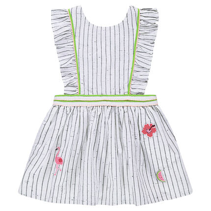Striped dress in neps cotton with badges and crossed straps