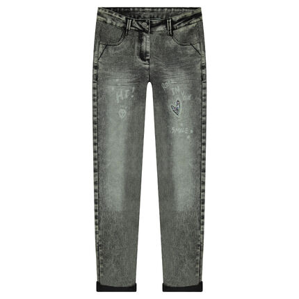 Junior - Snow wash skinny jeans with heart patch in sequins