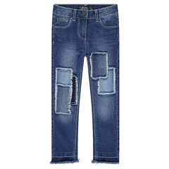 Used-effect jeans with patches and fringes