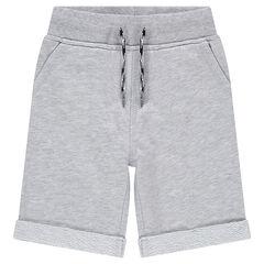 Junior - Plain-colored fleece bermuda shorts with pockets