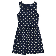 Junior - Sleeveless dress with allover polka dots