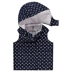 Sleeveless sherpa-lined padded jacket with allover polka dots