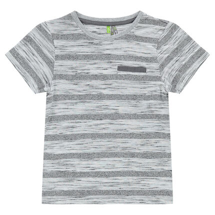 Striped, short-sleeved tee-shirt with decorative pocket