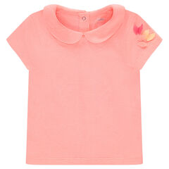 Short-sleeved plain-colored jersey tee-shirt with a Peter Pan collar