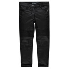 Slim-cut coated jeans with interplay of topstitching