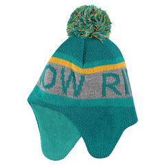 Peruvian beanie knit doubled microfleece with pompom