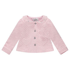 Jacket in cotton and polyester with a Peter Pan collar