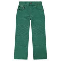 Plain-colored regular fit topstitched pants
