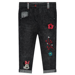 Used-effect slim fit jeans with embroidery and Disney Minnie Mouse