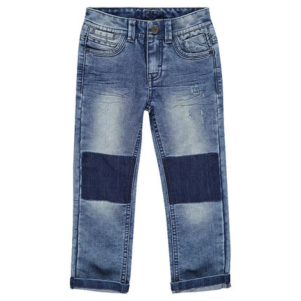Junior - Worn and crinkled-effect straight jeans.