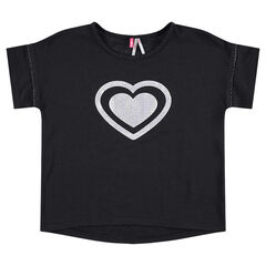 Short-sleeved tee-shirt with a printed heart in front