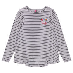 Junior - Striped ribbed tunic with badges