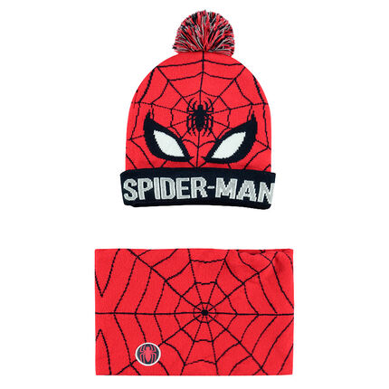 Knit cap and snood ensemble with a jacquard ©Marvel Spiderman motif