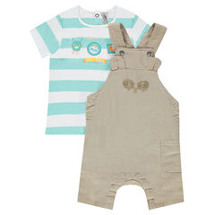 Ensemble with a striped tee-shirt and short overalls with a pocket