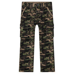 Twill pants with an army motif and pockets