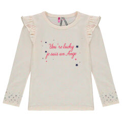 Long-sleeved tee-shirt with a printed message and stars