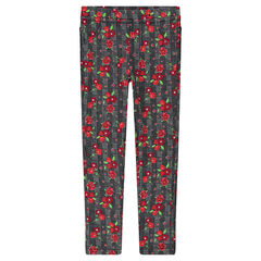 Checked milano leggings with printed flowers