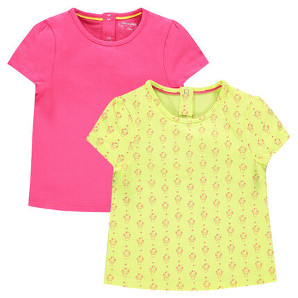 Set of 2 short-sleeved plain-colored/printed tee-shirts
