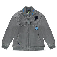 Imitation leather jacket with pockets and badges
