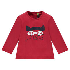 Long-sleeved jersey tee-shirt with printed cat
