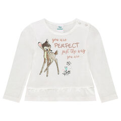 Long-sleeved frilled tee-shirt with a Disney Bambi print