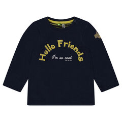 Long-sleeved double jersey tee-shirt with print