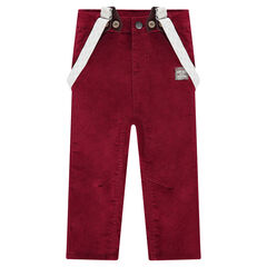 Ribbed velvet pants with removable straps