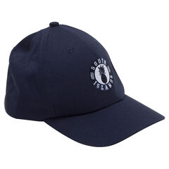 Plain-colored twill cap with an embroidered badge in front