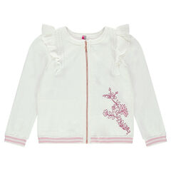 Knit cardigan with frills and embroidered flowers