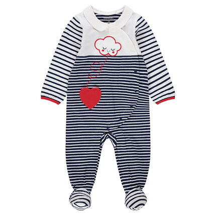 Striped jersey footed sleeper with an embroidered cloud and heart