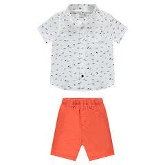 Printed shirt and coral Bermudas ensemble