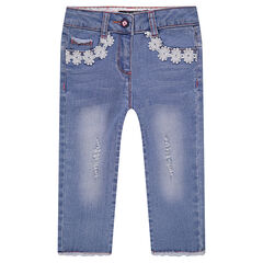 Used-effect denim capri pants with flowery braid trim