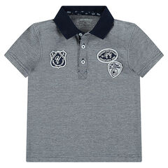 Junior - Short-sleeved piqué cotton polo shirt with badges and print