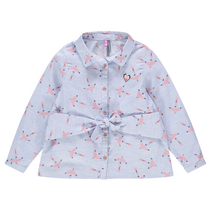 Long-sleeved cotton shirt with allover printed birds