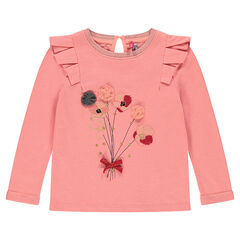 Heathered fleece sweatshirt with frills and flowers