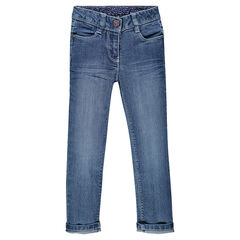 Worn-effect slim-cut jeans