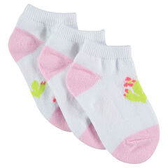 Set of 3 pairs of assorted ankle socks with cactus motif