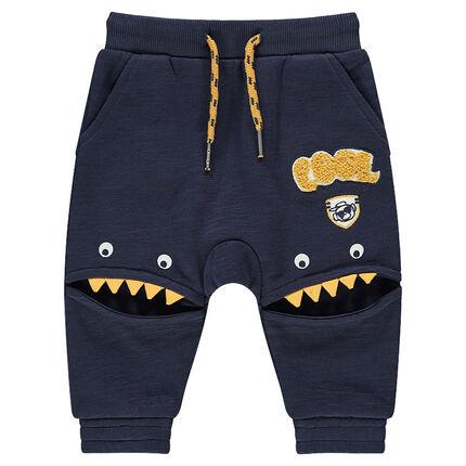 Slub fleece sweatpants with monster-shaped panels