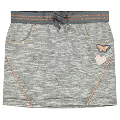 Fleece skirt with elastic waistband and butterfly patch