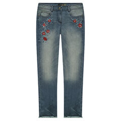 Junior - Used and crinkled-effect jeans with embroidered roses