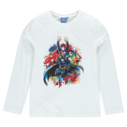 Long-sleeved tee-shirt with Justice League superheros print